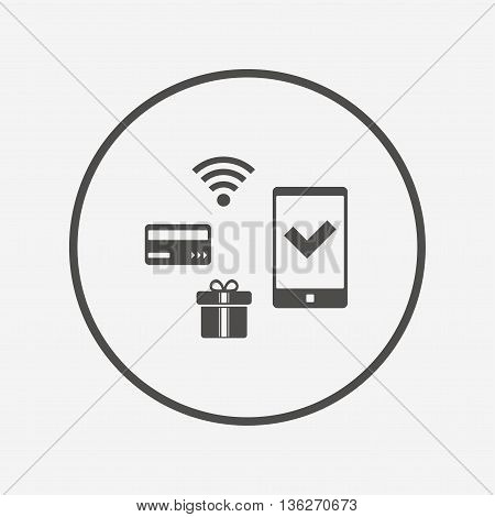 Mobile payments icon. Smartphone, credit card. Flat mobile payments icon. Simple design mobile payments symbol. Mobile payments graphic element. Round button with flat mobile payments icon. Vector