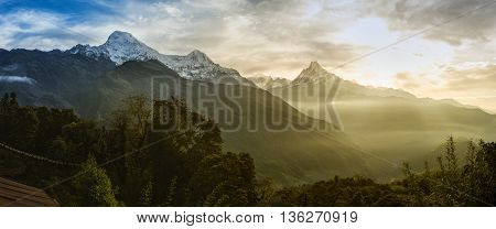 Panoramic view of the himalayan peak the 6993 ms. mount Machhapuchhare-Fish Tail and Annapurna South Nepal. poster