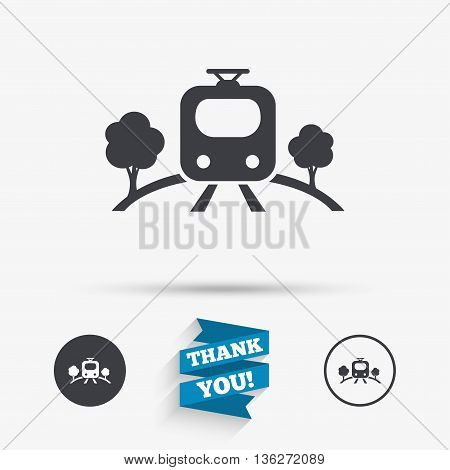 Overground subway sign icon. Metro train symbol. Flat icons. Buttons with icons. Thank you ribbon. Vector