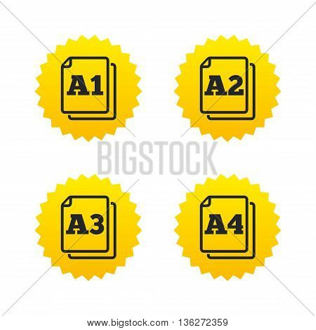 Paper size standard icons. Document symbols. A1, A2, A3 and A4 page signs. Yellow stars labels with flat icons. Vector