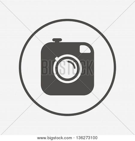 Hipster photo camera sign icon. Retro camera. Flat photo camera icon. Simple design photo camera symbol. Photo camera graphic element. Round button with flat photo camera icon. Vector