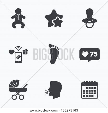 Baby infants icons. Toddler boy with diapers symbol. Buggy and dummy signs. Child pacifier and pram stroller. Child footprint step sign. Flat talking head, calendar icons. Stars, like counter icons. Vector