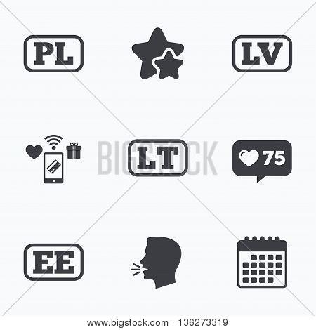Language icons. PL, LV, LT and EE translation symbols. Poland, Latvia, Lithuania and Estonia languages. Flat talking head, calendar icons. Stars, like counter icons. Vector