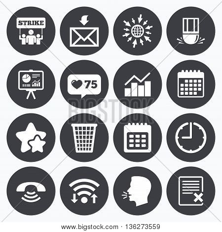 Calendar, wifi and clock symbols. Like counter, stars symbols. Office, documents and business icons. Call, strike and calendar signs. Mail, presentation and charts symbols. Talking head, go to web symbols. Vector