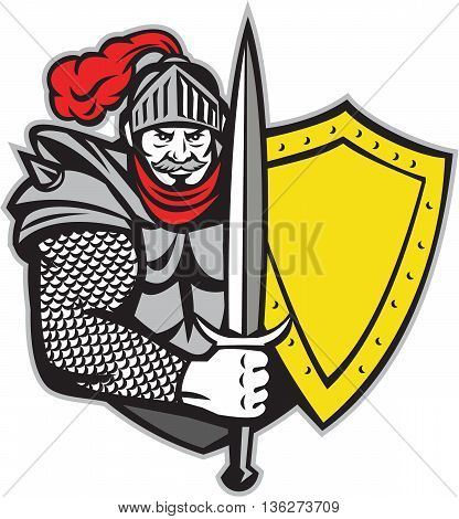 Illustration of a knight in full armor with open visor holding sword and shield viewed from the front set on isolated white background done in retro style.