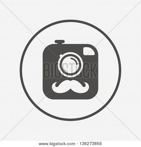 Hipster photo camera sign icon. Retro camera. Flat hipster camera icon. Simple design hipster camera symbol. Hipster camera graphic element. Round button with flat hipster camera icon. Vector