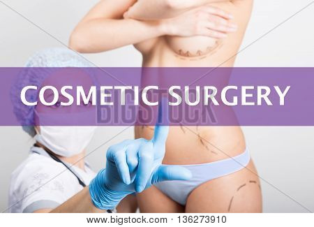 technology, internet and networking in medicine concept - medical doctor presses cosmetic surgery button on virtual screens. cosmetic surgery, lifting and breast augmentation.