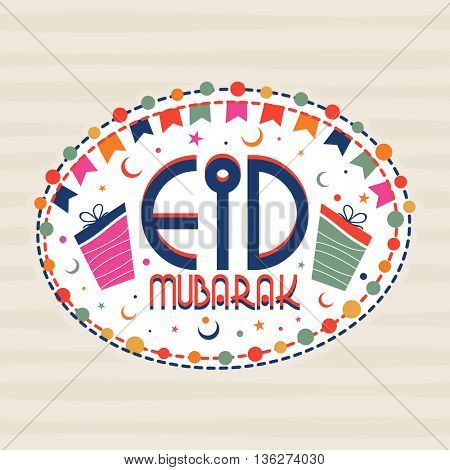 Eid Mubarak Greeting Card design with bunting decoration, Beautiful Frame with Stylish Text Eid Mubarak, Gifts, Moons and Stars, Elegant Islamic Background for Muslim Community Festival celebration.