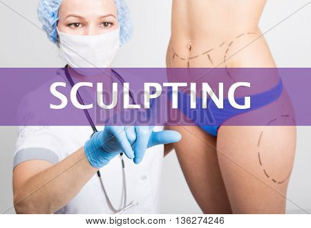 technology, internet and networking in medicine concept - medical doctor presses sculpting button on virtual screens. cosmetic surgery, lifting and breast augmentation.