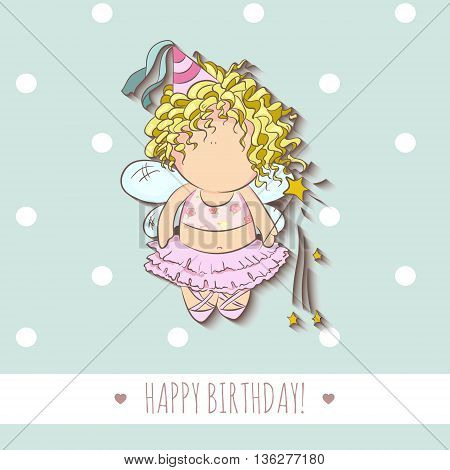 cute vector illustration of a fairy with magic stick. doodle. happy birthday card. romantic girly style. invitation card template