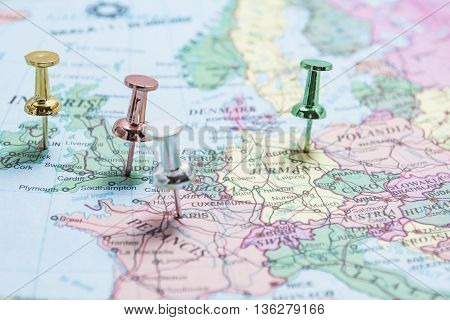 Map of Europe with pins on the major cities of London Berlin Paris Dublin.