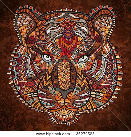 Tiger Head Zentangle Wildlife Vector Artwork Ornament Colorful