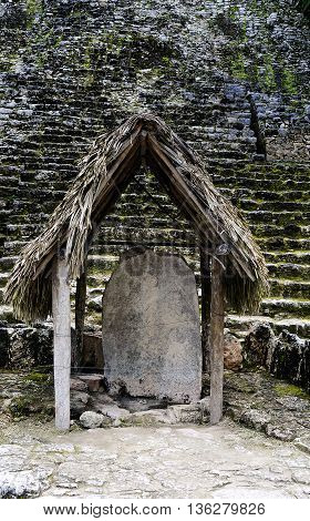 Famous detail of Coba Mayan Ruins in Mexico