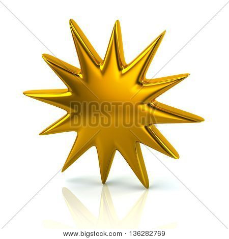 3D Illustration Of Golden Bursting Star Icon