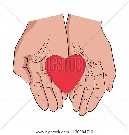 Male hands holding heart. Demonstration of care love and humanity in hands. Illustration vector isolated on white. One big red heart in man's hands.