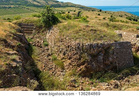Redoubts of the nineteenth century. Balaklava in Crimea.