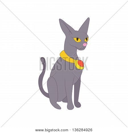 Egyptian cat icon in cartoon style on a white background