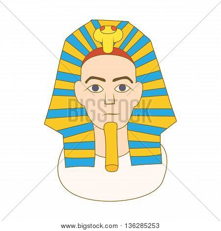 Egyptian pharaoh icon in cartoon style on a white background