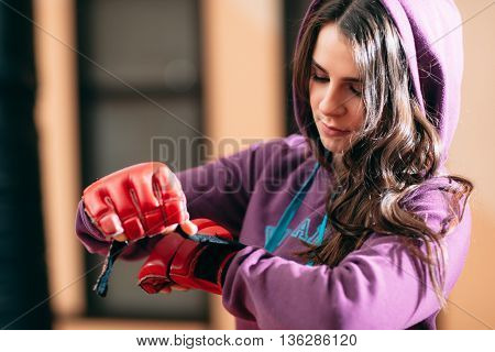 Woman Self Defence Workout Boxing Healthy Lifestyle Training Gym Martial Arts Concept