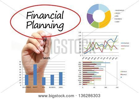 Businessman writing Financial Planning in red circle on virtual screen. Business banking finance and investment concept.