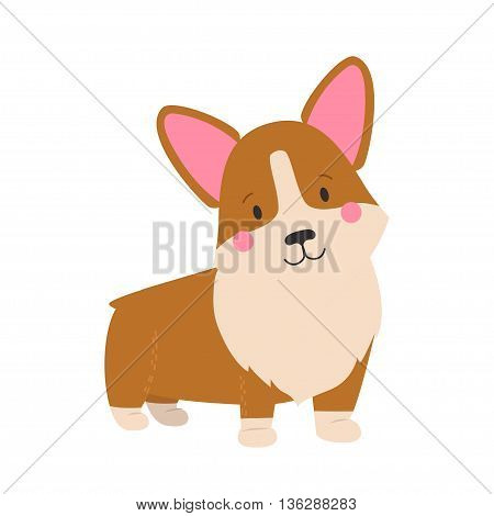 Vector illustration of cute dog Welsh Corgi. Nice puppy for greeting card pet shop or veterinary clinics. Dog Welsh Corgi stand