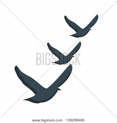 Flock, bird, flying icon vector image. Can also be used for seasons. Suitable for mobile apps, web apps and print media.