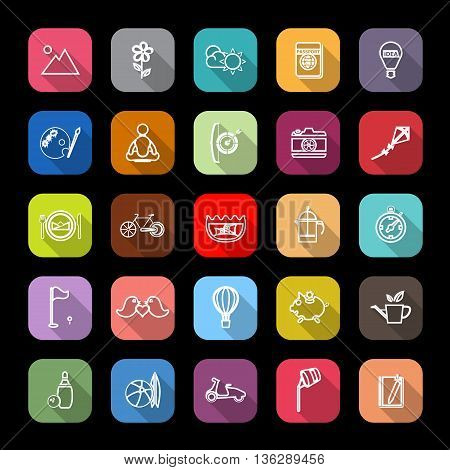 Slow life activity line icons with long shadow stock vector