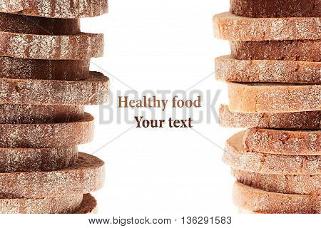Pile of slices of black rye bread and white bread with a crispy crust on a white background. Decorative ending border. Isolated. Concept art. Food background.