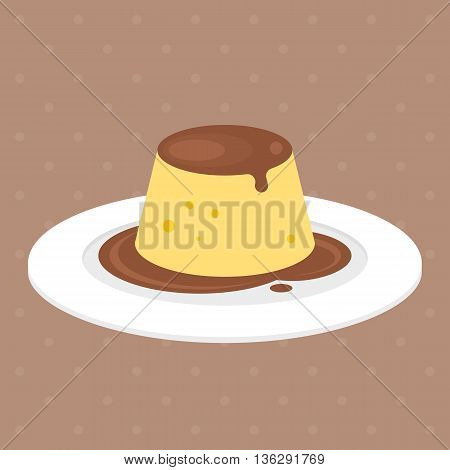 pudding or custard with caramel in plate illustration vector, flat design