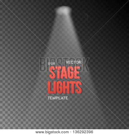 Illustration of Vector EPS10 Bright Stage Light Effect. Stage Light Illuminating Podium. Transparent Studio Stage Light Effect on Transparent Overlay Background