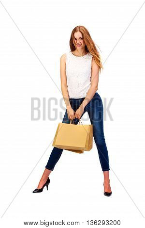 Picture Of Lovely Woman With Biodegradable Shopping Bag.