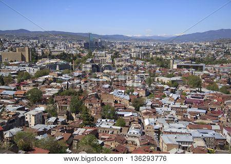The capital of Georgia - Tbilisi bird's-eye view