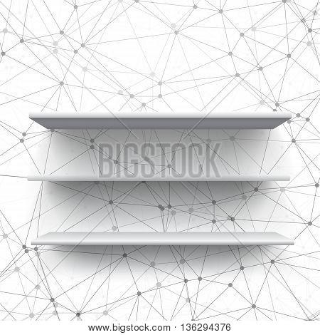 Illustration of Realistic Vector Shelf. Vector Shelf on Wall. Realistic Shelf on Wireframe Background