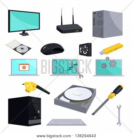 Computer repair icons set in cartoon style isolated on white background