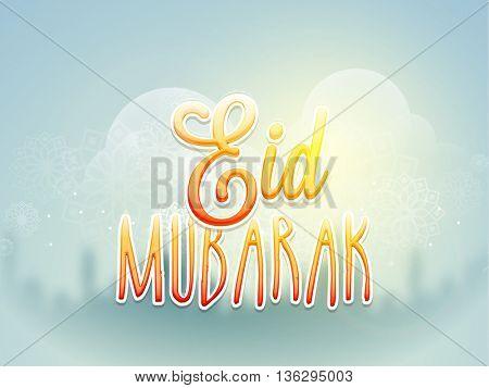 Creative Glossy Text Eid Mubarak on floral design decorated shiny background, Elegant Greeting Card design for Muslim Community Holy Festival celebration.