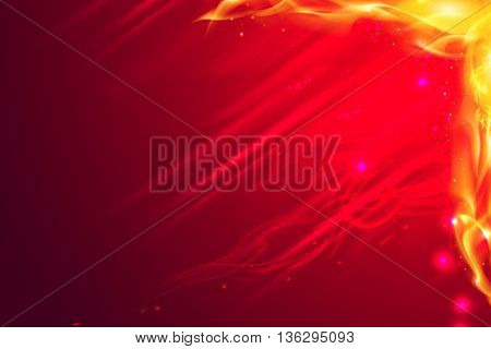 Yellow red Burning flame copy space background