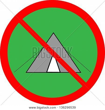 No tent sign in red ring on green circle. Isolated on white background. No tent symbol marks. No tent sign picture. Green sticker vector illustration. Flat vector image. Vector illustration..