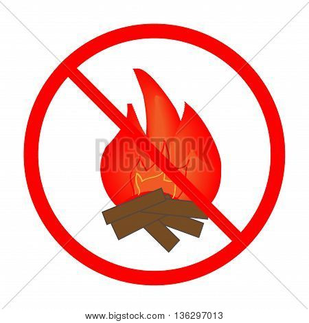 No the kindle fire sign in red ring. Isolated on white background. No the kindle fire marks. No fire sign picture. Red sticker vector illustration. Flat vector image. Vector illustration.