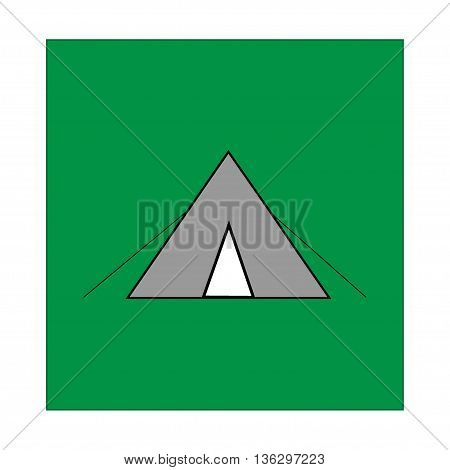Place for tent sign in green square. Isolated on white background. Place for tent symbol marks. Place for tent sign picture. Green sticker vector illustration. Flat vector image. Vector illustration.