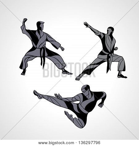 Men in a karate pose. Martial arts silhouette set. Detailed vector illustration of a martial arts masters