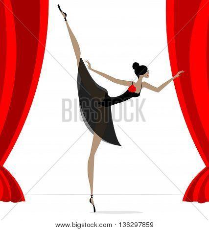 against red curtain dancing black ballet dancer