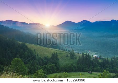 Majestic sunset in the mountains landscape. Carpathian mountins, Ukraine.