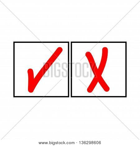 Tick and cross sign in white square isolated on white background. Tick cross sign in white square. Tick and cross symbol . White sticker vector illustration. Flat vector image. Vector illustration.