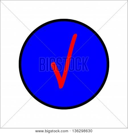 Tick red sign in blue circle. Isolated on white background .Tick red in blue circle symbol marks. Tick sign picture. Blue sticker vector illustration. Flat vector image. Vector illustration.