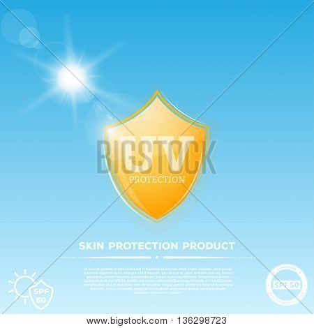 Yellow glowing shield with UV sun protection emblem. Sun rays on sky background representing ultraviolet radiation and yellow shield represents skin care uv protection cream or other cosmetic product.