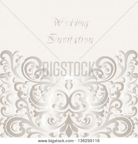 Wedding Invitation card with lace shinny ornament. Gold cream color. Vector