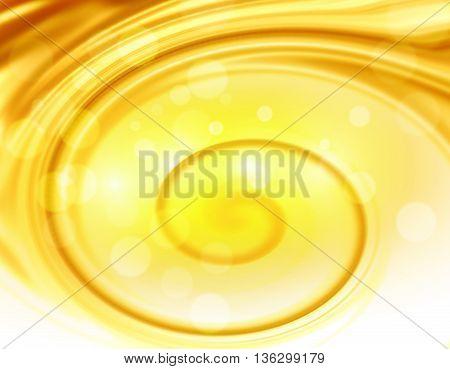 Golden yellow light spiral background design illustration