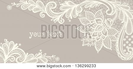 Card with a white lace. Floral Background. Vector greeting card. Wedding invitation.