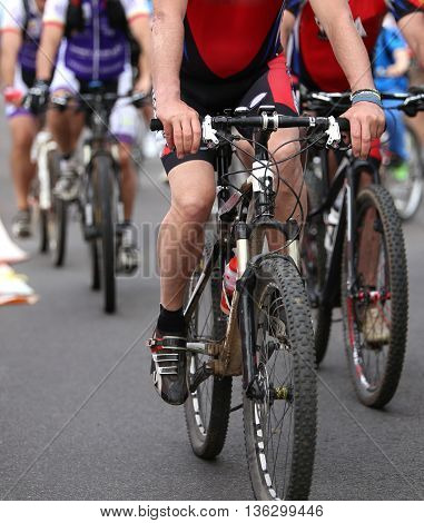 Cyclists Pedal Quickly Through The Streets During The Sporting Event
