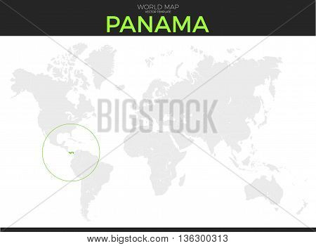 Republic of Panama location modern detailed vector map. All world countries without names. Vector template of beautiful flat grayscale map design with selected country and border location